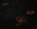 Herz- (IC 1805) und Embryo-Nebel (IC 1848) mit Doppelhaufen h&Chi (NGC 869 + NGC 884) im Per